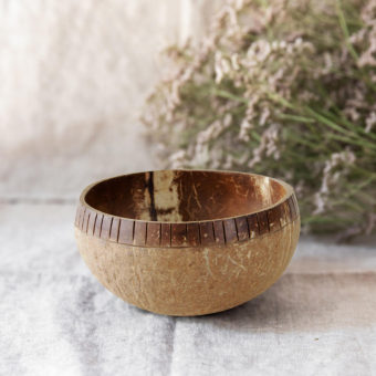 Top carved Coconut Bowl (perimetrically)